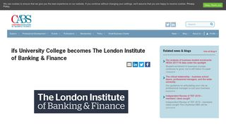 ifs University College becomes The London Institute of Banking ...