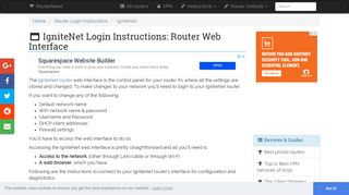 IgniteNet Login: How to Access the Router Settings   RouterReset