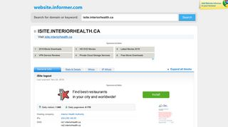 isite.interiorhealth.ca at WI. iSite logout - Website Informer