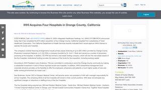 IHHI Acquires Four Hospitals in Orange County, California | Business ...