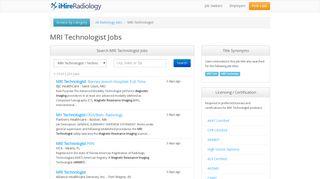 MRI Technologist Jobs | iHireRadiology