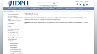 Vital Statistics | IDPH - Illinois Department of Public Health - Illinois.gov