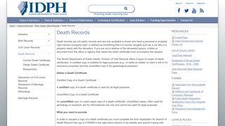 Death Records | IDPH - Illinois Department of Public Health - Illinois.gov