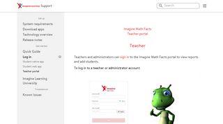 Teacher portal | Imagine Learning Support