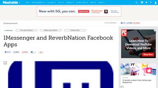 IMessenger and ReverbNation Facebook Apps - Mashable