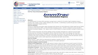 IMMTRAC - Texas Department of State Health Services - Texas.gov