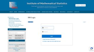 Institute of Mathematical Statistics   IMS Login