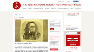 In Depth - ICAMUS the international center for american music