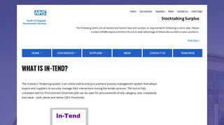 What is In-Tend? – NHS South of England Procurement Services