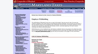 Employer Withholding - Maryland Taxes - Comptroller of Maryland