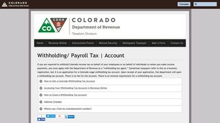 Withholding/ Payroll Tax   Account   Department of Revenue - Taxation