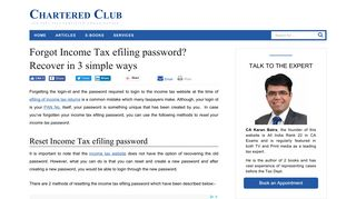 Forgot Income Tax efiling password? Recover in 3 simple ways