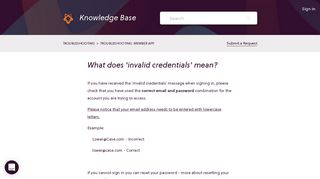 What does 'invalid credentials' mean? – Glofox