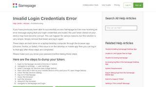 Invalid Login Credentials Error   Samepage
