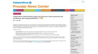 Independence Administrators offers free electronic claims payments ...