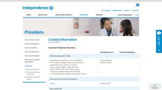 Contact Us | Providers | Independence Blue Cross - IBXpress