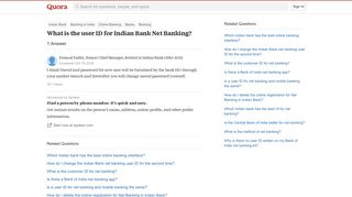 What is the user ID for Indian Bank Net Banking? - Quora