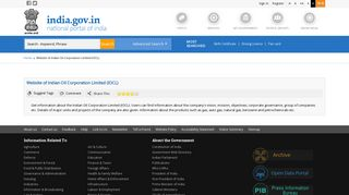 Website of Indian Oil Corporation Limited (IOCL) | National Portal of ...