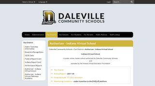 Authorizer - Indiana Virtual School - Daleville Community Schools