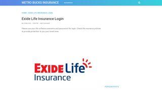 Exide Life Insurance Login - METRO BUCKS INSURANCE