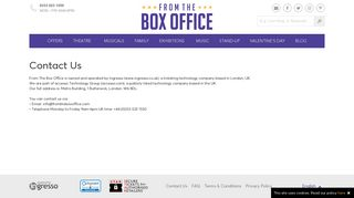 From The Box Office | Contact Us