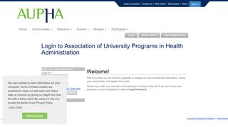 Login to Association of University Programs in Health Administration