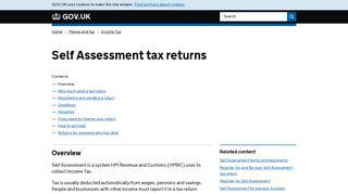 Self Assessment tax returns - GOV.UK