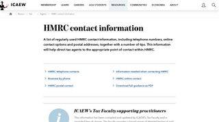 HMRC contact information   ICAEW
