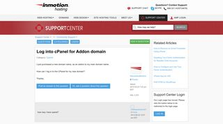 Log into cPanel for Addon domain   InMotion Hosting