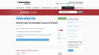 How do I give my developer access to cPanel?   InMotion Hosting
