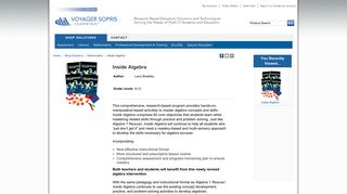 Inside Algebra - Voyager Sopris Learning