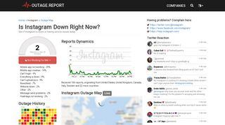 Instagram Down? Service Status, Map, Problems History - Outage ...