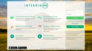 INTEGRIS and Me - Login Page