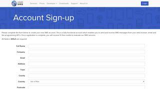 IntelliSMS - Account Sign-up