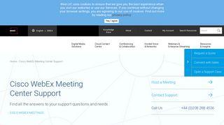 Cisco WebEx Meeting Center Support   West UC