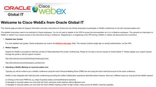 Cisco WebEx from Oracle Global IT