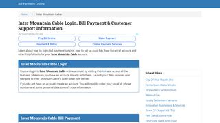 Inter Mountain Cable Login, Bill Payment & Customer Support ...