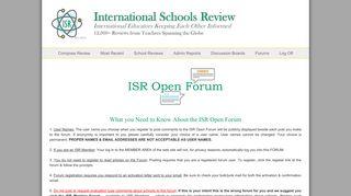 ISR Open Forum | International Schools Review