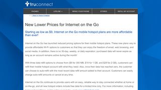 New Lower Prices for Internet on the Go - TruConnect