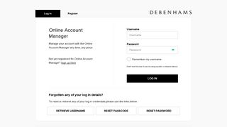 Login - Online Account Manager | Debenhams
