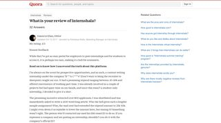 What is your review of Internshala? - Quora