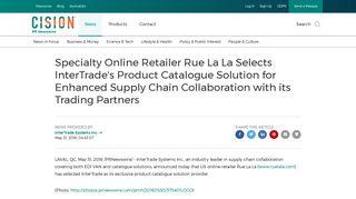 Specialty Online Retailer Rue La La Selects InterTrade's Product ...