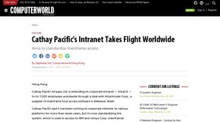 Cathay Pacific's Intranet Takes Flight Worldwide   Computerworld
