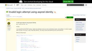 Invalid login attempt using aspnet identity | The ASP.NET Forums
