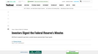 Investors Digest the Federal Reserve's Minutes - TheStreet