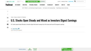 U.S. Stocks Open Steady and Mixed as Investors Digest Earnings ...