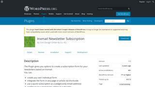 Inxmail Newsletter Subscription | WordPress.org