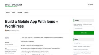 Build a Mobile App With Ionic + WordPress - Scott Bolinger