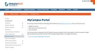 MyCampus Portal | University of Ontario Institute of Technology