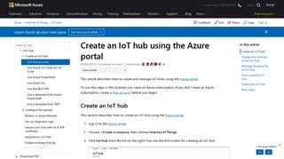 Use the Azure portal to create an IoT Hub | Microsoft Docs